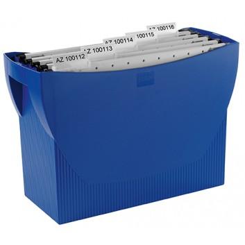 HAN Hängemappenbox SWING; blau; 390 x 260 x 150 mm (B x H x T); Poystyrol; 20 Mappen oder 3 Ordner; Integrierter Köcher für Stifte u. Marker