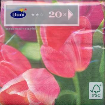 Duni Servietten; 33 x 33 cm; Tulpen rosa; 321011; 3-lagig; 1/4-Falz (quadratisch); Zelltuch, Soft-Tissue
