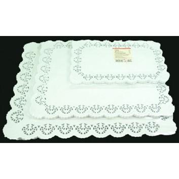 dekorativ Demmler Tortenspitze; 18 x 30 cm; weiß; Blüte; eckig, für Stollen; 9 x 21 cm