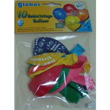 Globos Luftballon, Geburtstag; Geburtstagsglückwünsche, sortiert; Ø ca. 30 cm; ca. 75/85 cm; Gas/Helium geeignet