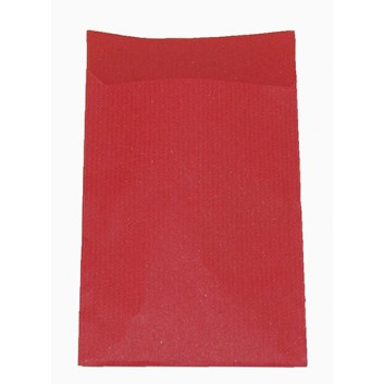 Präsent-Flachbeutel aus Papier; ca. 9,5 x 13 cm; uni; rot, durchgefärbt; ca. 20 mm; Kraftpapier,enggerippt rot-durchgefärbt; ca. 60 g/qm