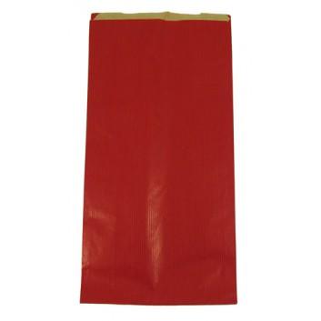 Präsent-Faltenbeutel aus Papier; 19 + 8,0 x 37 cm; uni; rot; ca. 15 mm; braunes Kraftpapier; ca. 60 g/qm; mit Seitenfalte + Klappe