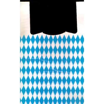 Hemdchen-Shopper; 26 + 12 x 47 cm; Bayerisch Raute; weiß-blau (beidseitig); ca. 17 my; HDPE; geblockt - zum Abreissen; Breite + Seitenfalte x Höhe