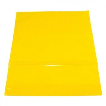 Plastik-Tragetaschen; 40 +10 x 45 cm; uni; gelb; ca. 50 my; LDPE; mit verstärktem Griffloch; Breite + Bodenfalte x Höhe