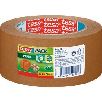 tesa Packband - Papier Eco; 50 mm x 50 m; braun; Papier, Ecologo; stark klebend, 60% biobasiertes Material; Breite x Länge