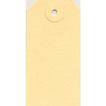 Hängeetiketten; 45 x 90 mm; chamois; mit Pappöse; ohne Faden, mit Aufhängeloch; 65 x 45 mm; Manilakarton; rechteckig, abgeschrägte Ecken