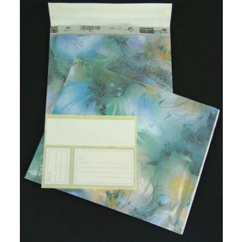 Luftpolstertasche; Blume blau; 275 x 200 mm; 230 x 180 mm; ohne Fenster; Papier und Polyethylen; mit Haftstreifen; L x B; inkl. Adressaufkleber