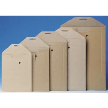 Vollpapptasche Buchbox; braun; 350 x 250 mm; 340 x 240 mm; ohne Fenster; opti-fort 4; stabiler Recyclingkarton; mit Zungenverschluß; L x B