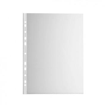 Prospekthülle Economy; für DIN A4; farblos; genarbt; oben offen; dokumentenecht; recycelbares Polypropylen (PP); 0,043 mm; Universallochung