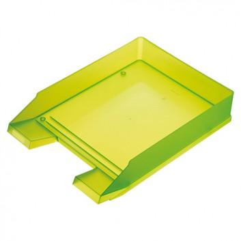 helit Briefkorb Economy; grün transparent; 249 x 345 x 65 mm; mit Greifausschnitt; stapelbar; Polystyrol (PS); DIN A4/C4