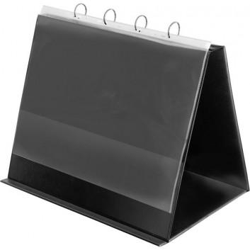 VELOFLEX Tisch-Flipchart, Aufstellringbuch; schwarz; 36,0 x 43,7 x 5 cm; Aus PVC, leicht genarbt.; A3 quer, zusammengelegt