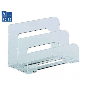 ALCO Briefständer; 75 x 150 x 95 mm; glasklar; Acryl; 2 Fächer