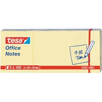 tesa Haftnotizen Office Notes; 50 x 40 mm; gelb; Papier, holzfrei; Standard, ablösbar; 12 Blöcke á 100 Blatt; unterverpackt zu 4x 3 Blöcken