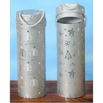 Flaschenbox zum Überreichen; für 1 Flasche; 2 Motive sortiert, keine Auswahl; silber; glatte Oberfläche; 0,75l Wein-/Sektflaschen bis 33cm Länge