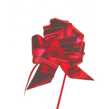 Poly-Zugschleife 100 Stück-Packung; Bandbreite: 30 mm, fertig abgelängt; uni: metallic-glänzend; rot; Polyband/Kräuselband metallisiert
