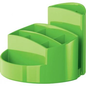 HAN Stifteköcher RONDO New Colour; 140 x 140 x 109 mm (B x H x T); grün; hochwertiger Kunststoff, Polystyrol (PS); 9 Fächer
