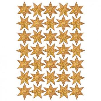 HERMA Weihnachts-Schmuck-Etiketten; 7,5 x 10 cm (Blattformat); Sterne, 6-zackig; gold; 3911; Durchmesser Sterne: ca.16 mm; Goldglimmer