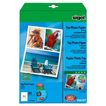 Sigel Inkjet Fotopapier Top; hochweiß; DIN A4; 210 g/qm; hochglänzend; Inkjetdrucker; sofort trocken und wischfest