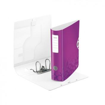 LEITZ Qualitäts-Ordner Active WOW; für DIN A4; violett metallic; 80 mm, abgerundet; 2 Ringe; mit Hebelmechanik und Blattniederhalter; ca. 500 Blatt