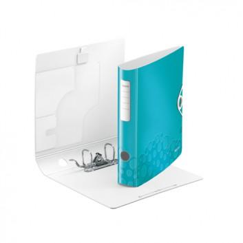 LEITZ Qualitäts-Ordner Active WOW; für DIN A4; eisblau metallic; 60 mm, abgerundet; 2 Ringe; mit Hebelmechanik und Blattniederhalter; ca. 350 Blatt